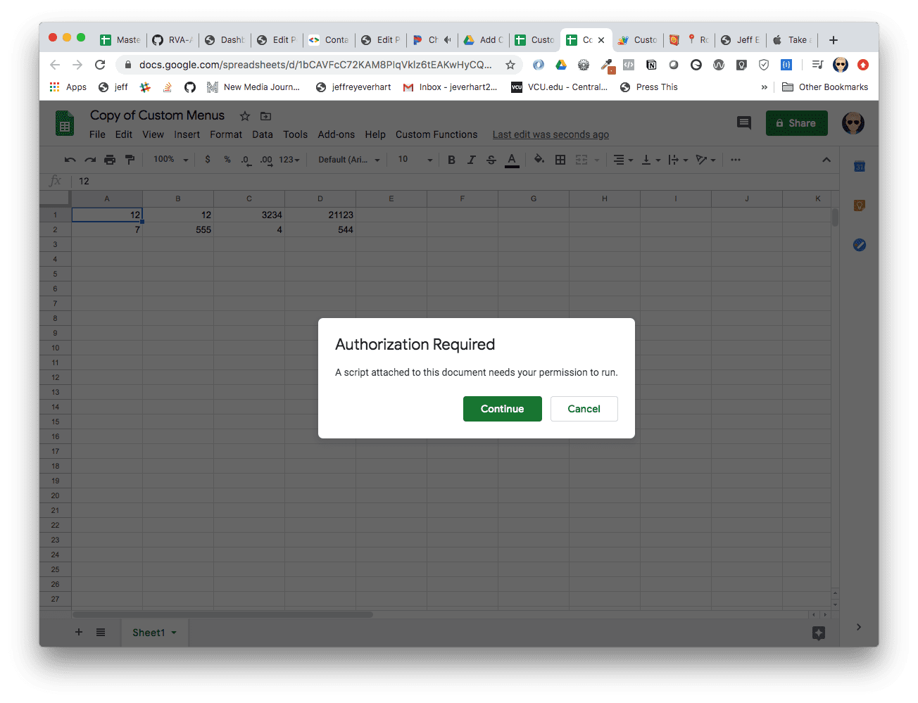 an image of a request for authorization from Google Apps Script