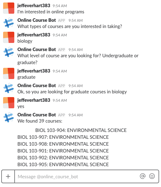 example conversation between myself and online course bot