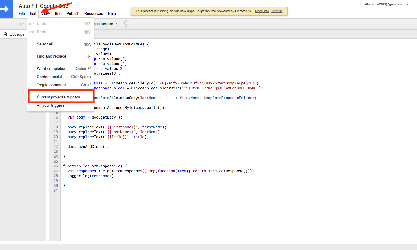 an image of the edit menu of google apps script interface with the current project's triggers highlighted