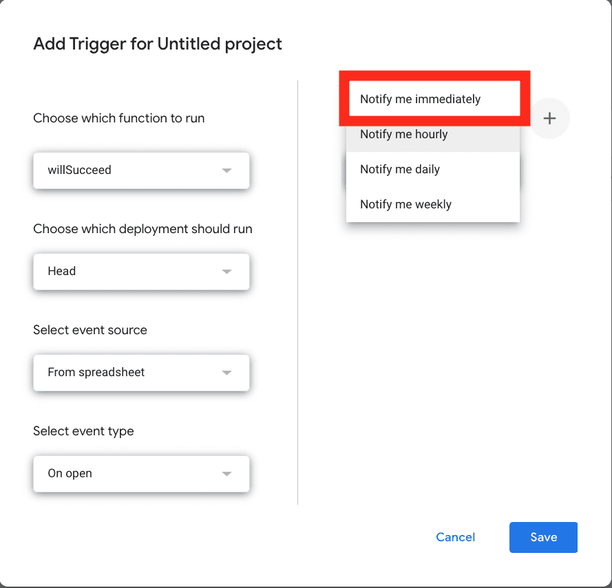 A screenshot of the trigger modal for Google Apps Script that shows the error notifications menu open
