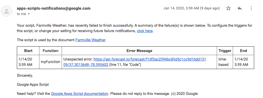 An image of an email from Google Apps Script indicating a script failure
