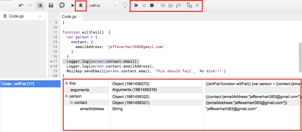 A screenshot of the Google Apps Script code editor that highlights the debugging option, the debug menu, and all of the information regarding the current context of the program