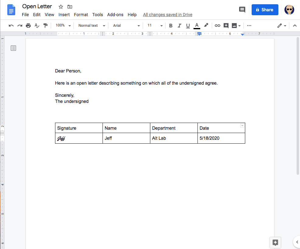 an image of a google doc with a signature line appended to an open letter